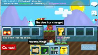 Growtopia:Selling my Phoenix Wings to @STYX!