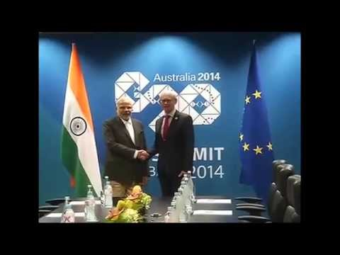 PM Modi meets European Council President Herman Van Rompuy in Brisbane, Australia