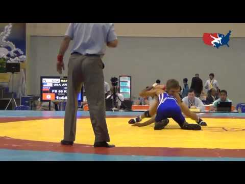 2012 Junior Worlds - FS 55kg Repechage - Joey Dance (USA) vs. Artak Hoyhannisyan (ARM)