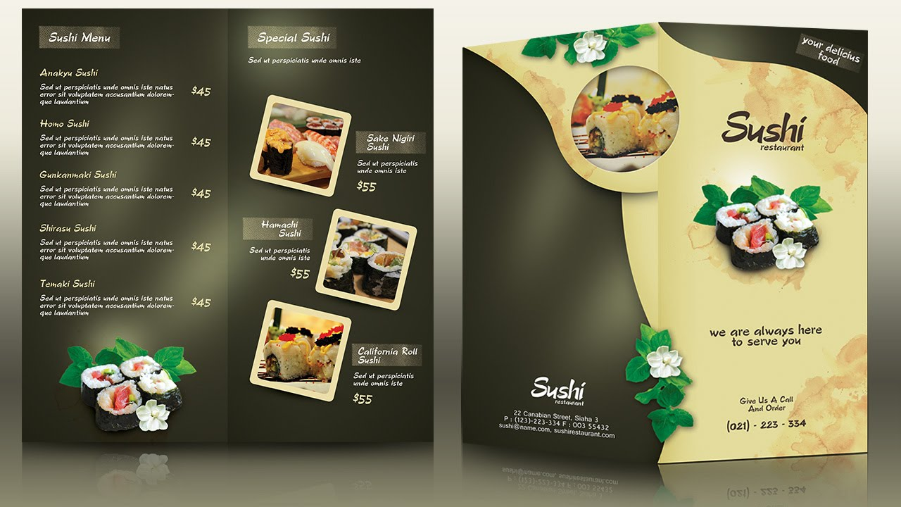 Sample restaurant brochure