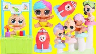 LOL Surprise Dolls Baby School Wheel + Bathroom Store | Toy Egg Videos