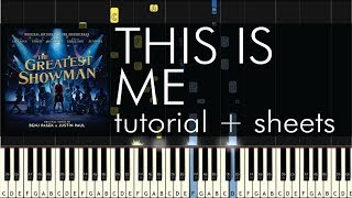 The Greatest Showman This Is Me Piano Tutorial Sheets