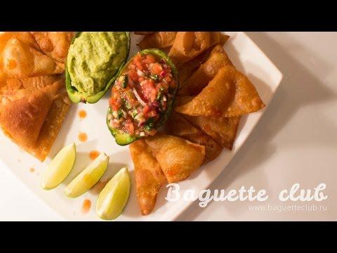 """Мексиканские чипсы начос с соусами """"Сальса"""" и """"Гуакамоле"""""""