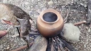 Primitive Technology - earn goose- burn with banana flower eating delicious