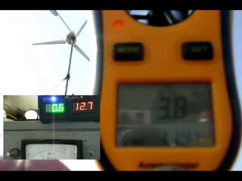 Ветрогенератор в работе на ветре до 10м/с.  self-made wind generator