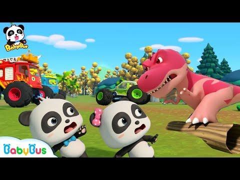 Download  Baby Panda Drops into The Dino World   Monster Cars And Dinosaurs   BabyBus Cartoon & Songs Gratis, download lagu terbaru