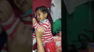 Toddler Ayas laughing at his aunty's songs