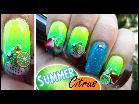 Simple Nails: Summer Citrus (Ombre Nail Effect + Fimo Fruit Slices)