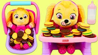 Paw Patrol Baby Skye Plays the Matching Cookies Game!