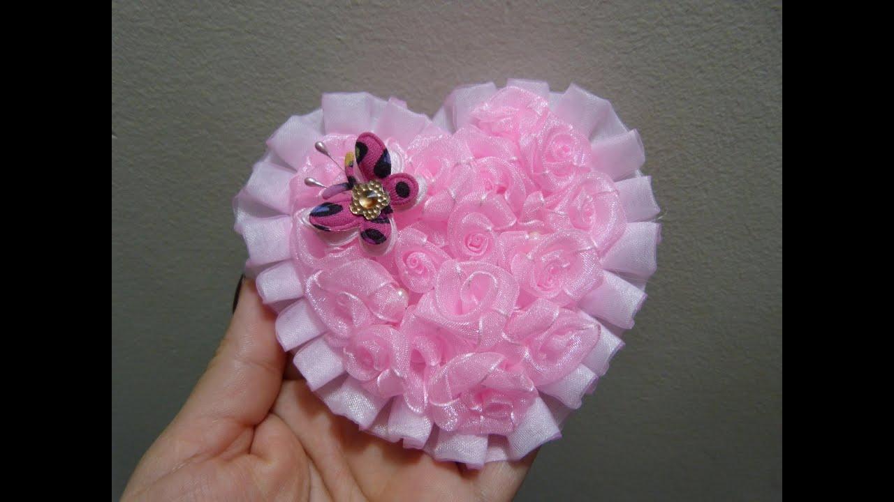 Corazon de flores miniatura en cinta organza para decorar - Accesorios para decorar ...