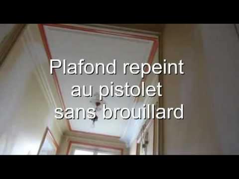 plafond repeint en 1h peinture pistolet airless sans brouillard devis en ligne youtube. Black Bedroom Furniture Sets. Home Design Ideas