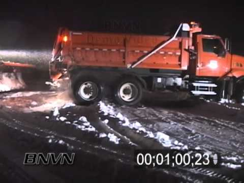 11/10/2006 Snow Plow Stuck And Being Pulled Out In A Winter Storm Video