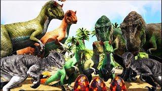 Familia Indoraptor, Roubando Ovos do Allossauro! #1 Ark Survival Evolved