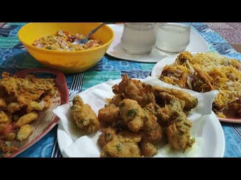 Ramzan special chicken biryani egg pakode aaloo pakode chana daal chaat shikanji by nasreen's kitche
