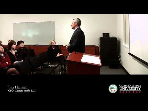 Georgia-Pacific CEO Jim Hannan speaks to CSUEB business students in February, 2012