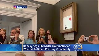 Banksy Admits Shredded Painting Didn't Go Entirely As Planned