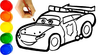 Disney Cars 3 Lightning McQueen Police Car Drawing & Painting for Kids