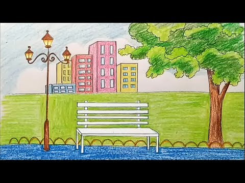How to draw scenery of city park step by step