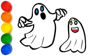como desenhar fantasmas halloween  | coloring ghost halloween for kids  | Totoykids Explorer
