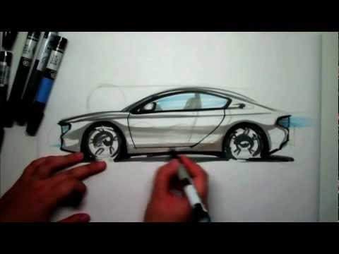How to Sketch a sports car side view using markers