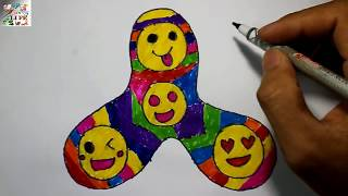 Learn Art l How To Draw and Color Fidget SpinnerlKids Drawing GIANT Fidget Spinner Coloring Videos