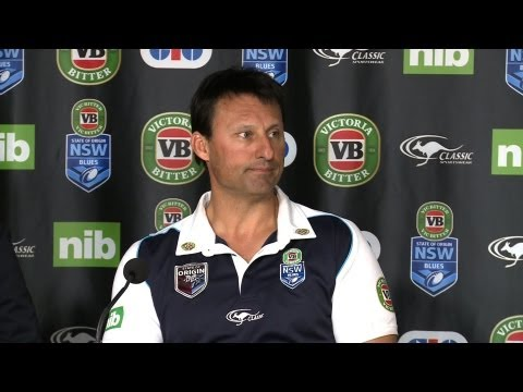 Dr George Peponis and NSW Blues coach Laurie Daley unveil the NSW Blues side to take on the Queensland Maroons at ANZ Stadium on June 5.
