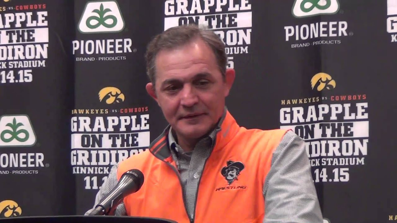 Oklahoma State coach John Smith after team loss at Grapple on the Gridiron