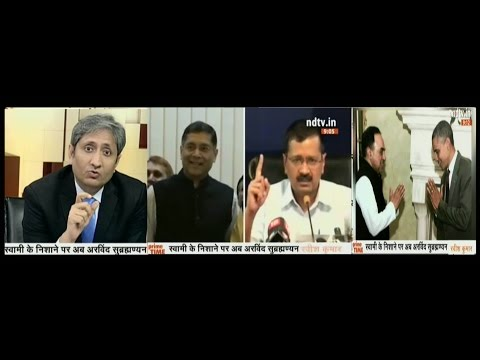 NDTV Ravish Kumar Prime time,After RBI Governor,Swamy now wants Arvind Subramanian to be sacked.