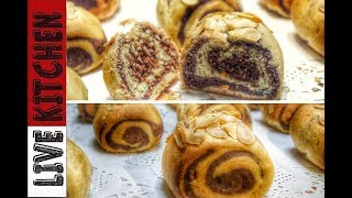 Δίχρωμα γλυκά ψωμάκια | Süßes Brot Farben | Sweet bread two colors Live Kitchen