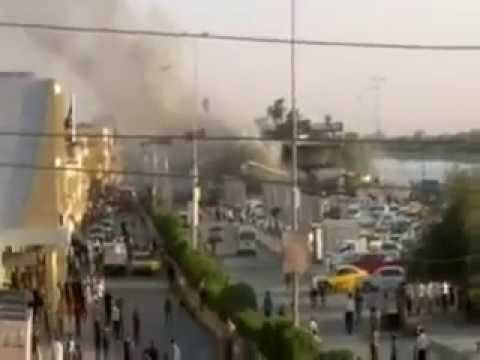 Witness the moment the second car bomb blast in Iraq in the province of Maysan