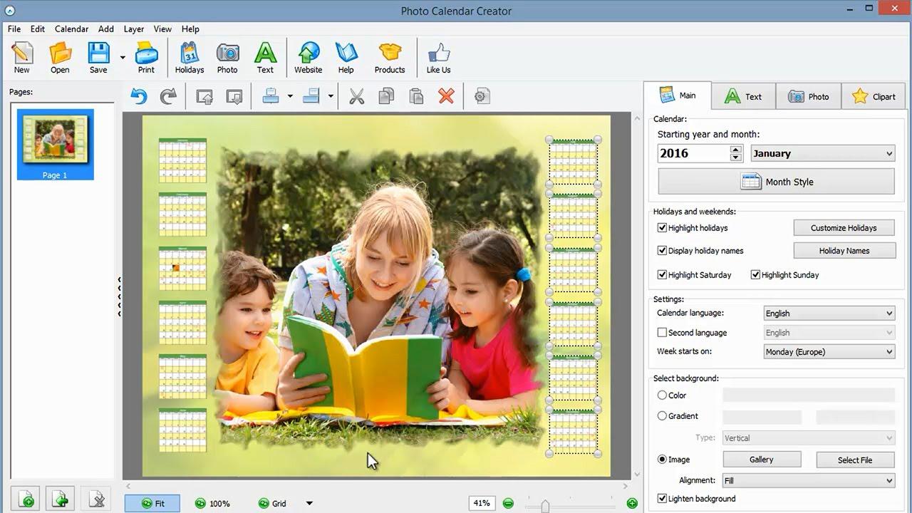 Foto Kalender Free photo calendar maker software