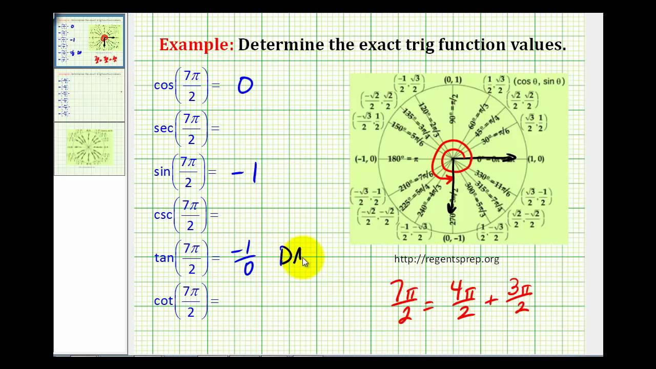 examples  determine exact trig function values with the angle in radians using the unit circle