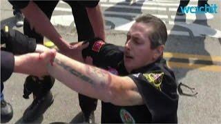 Protesters Fight KKK in Anaheim Park Near Disneyland