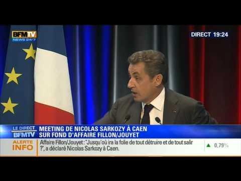 BFMTV - MEETING DE NICOLAS SARKOZY A CAEN SUR FOND D'AFFAIRE FILLON/JOUYET