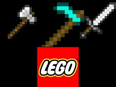 How to make a LEGO Minecraft Diamond Axe Hoe and Sword