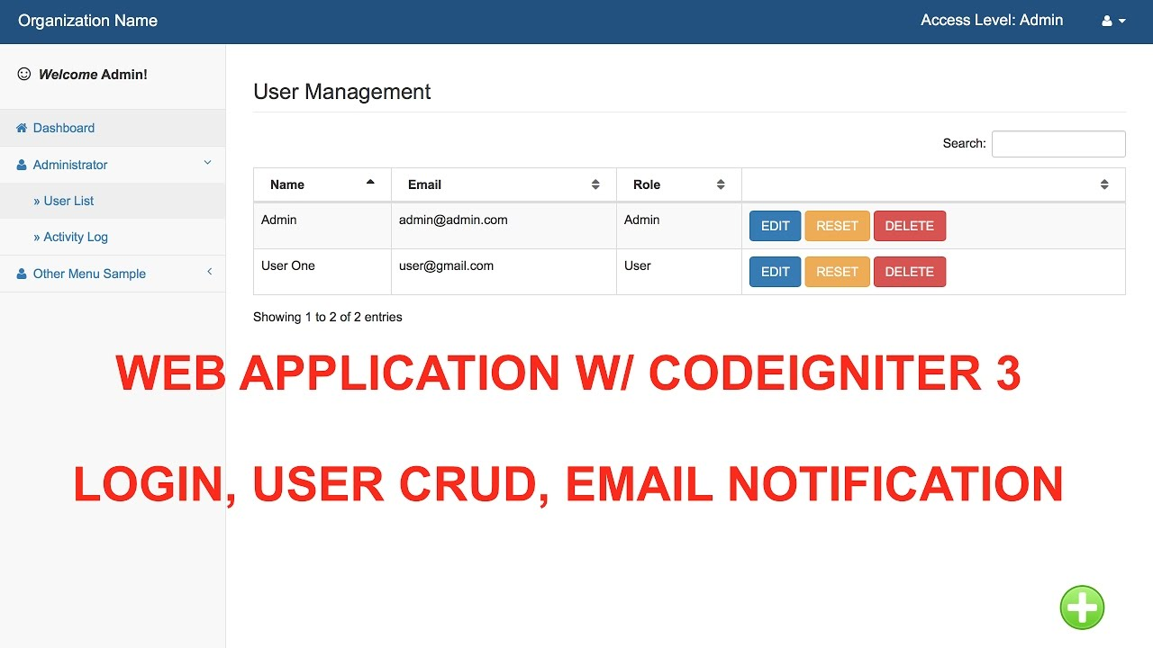 Simple User Login, User CRUD, Email Notification with Codeigniter ...