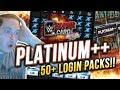 HUGE LOGIN BONUS PACK OPENING! 50 PLATINUM ++ PACKS!! | WWE SuperCard S4