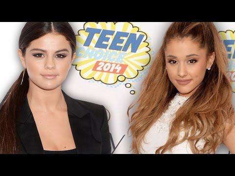 Ariana Grande & Selena Gomez Sassy Red Carpet Outfits TCAs 2014 thumbnail