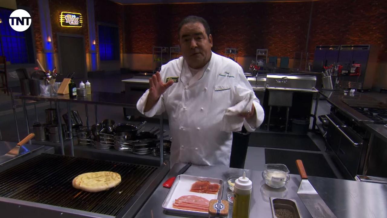 California Pizza Kitchen - Grilled Mortadella Pizza with Emeril | On ...