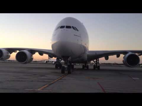 Emirates A380 taxiing on chox at Perth Airport
