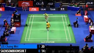 Amazing shot by LEE Chong Wei in 2014 Singapore Badminton Open