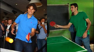 Tennis Players Playing Ping-Pong