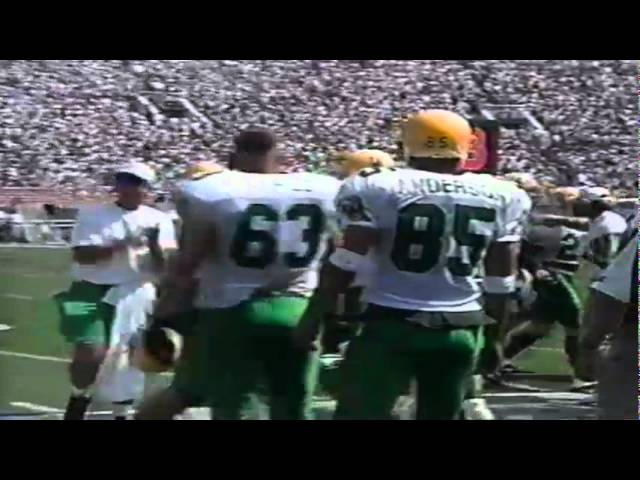 Oregon DT Bryant Jackson forces a fumble recovered by Derrick Barnes vs. UCLA 9-16-95