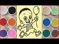 Đồ chơi trẻ em TÔ MÀU TRANH CÁT CẬU BÉ BONG BÓNG, Colored sand painting toys (Chim Xinh)