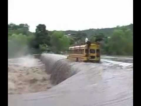 BUS drives over waterfall