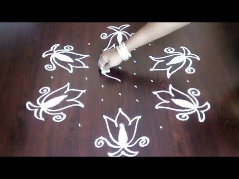 Step By Step Latest Beautiful Creative Rangoli With  9 x 5 Dots || Fashion World
