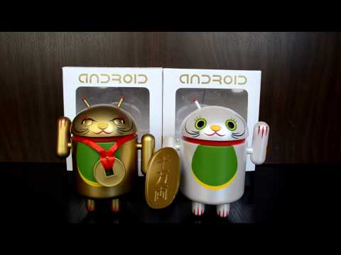 Android Mini Collectibles Lucky Cat Series (White and Gold with Coin)