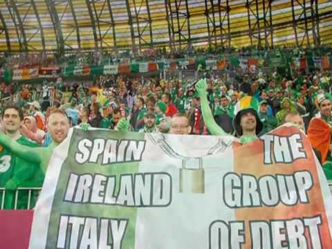 Spain vs. Ireland 4 - 0 Euro 2012 - Irish Fans are Singing The Fields of Athenry