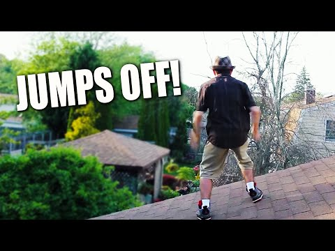 OLD MAN FALLS OF ROOF!!