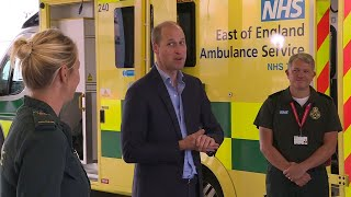 video: Prince William thanks paramedics in first post-lockdown visit, joking he can't wait for pubs to reopen
